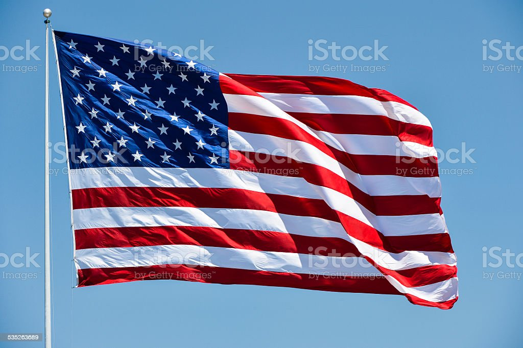 Flag of the United Staets of America stock photo