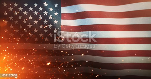istock Flag of the United States of America - Crisis / War / Fire 831187638