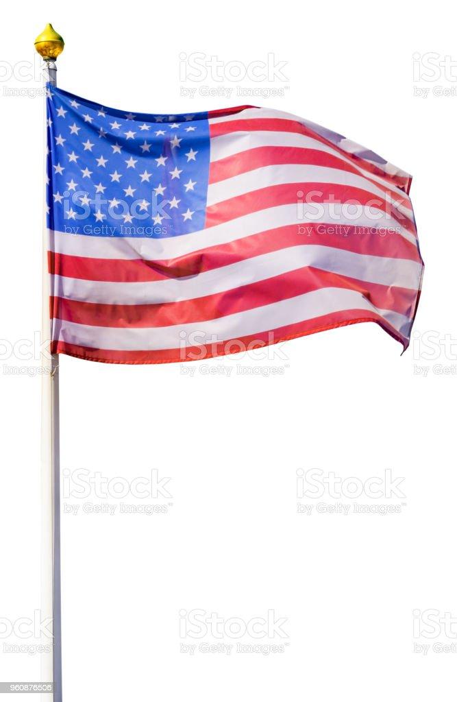 Flagge der Vereinigten Staaten von Amerika, flattert im Wind, auf einem weißen Flagstaff mit vergoldeten Spitze (isoliert) - Lizenzfrei Alt Stock-Foto
