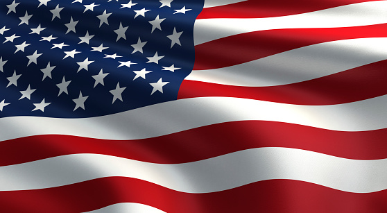 3d render Flag of the United States (close-up)