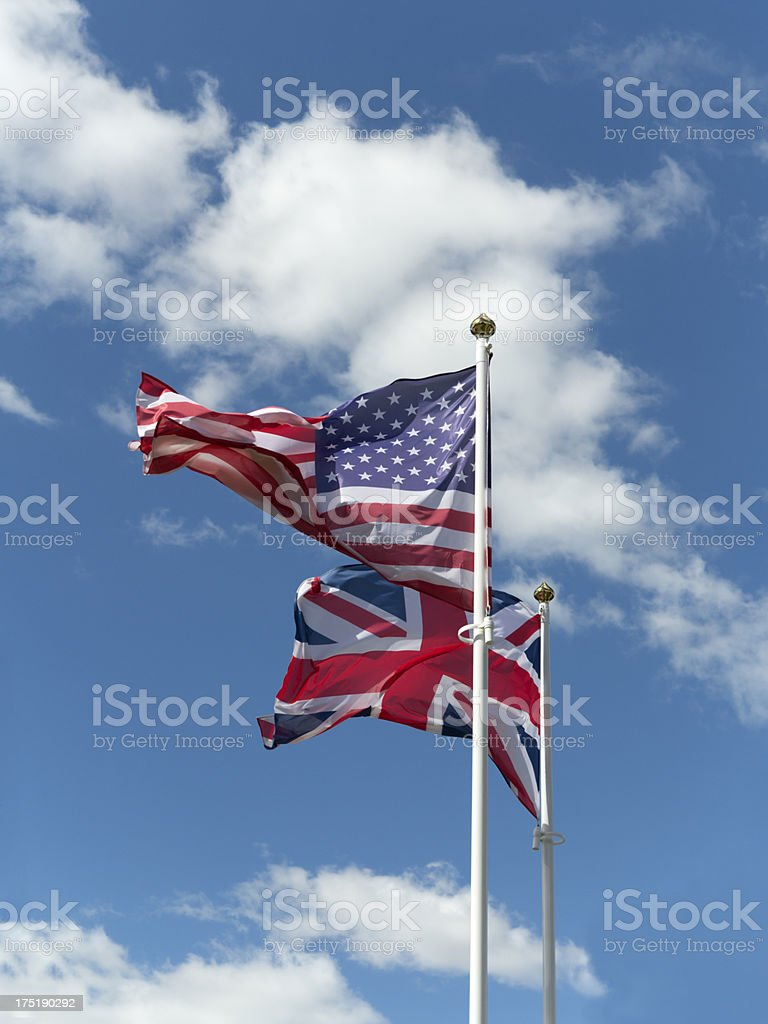 Flag of the U.S. and Britain royalty-free stock photo