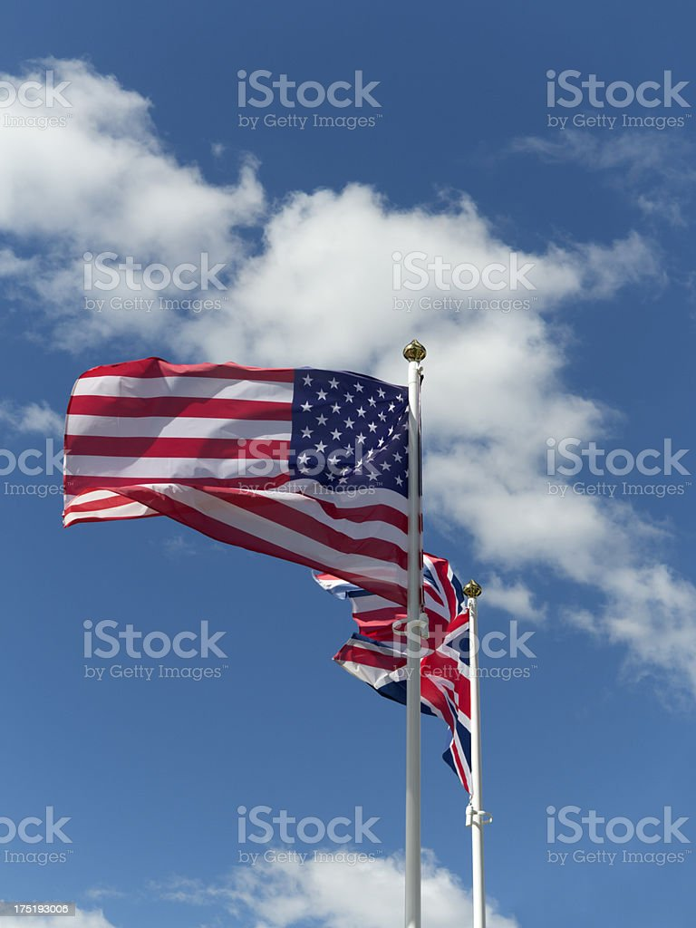 Flag of the U.S. and Britain stock photo