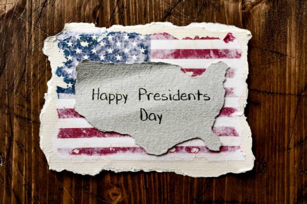 bandeira do dia presidentes dos eua e texto - presidents day - fotografias e filmes do acervo