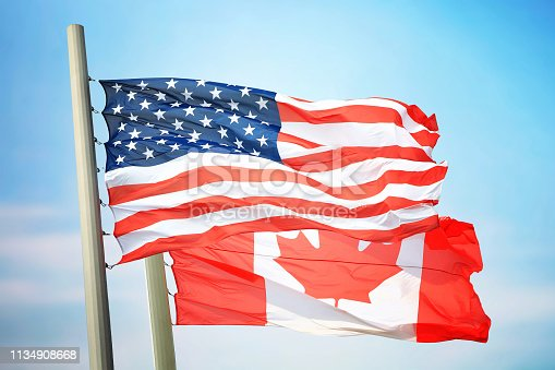 istock Flag of the USA and Canada 1134908668