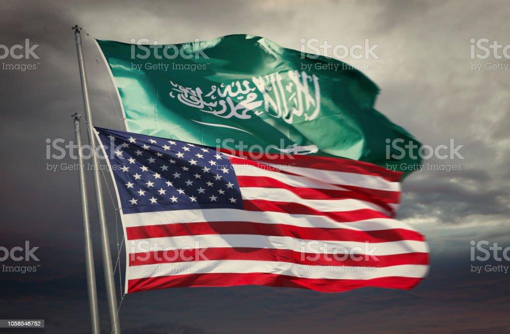 Flagge der USA und Saudi Arabien – Foto