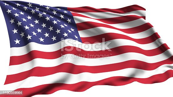 American flag with fabric structure in the wind