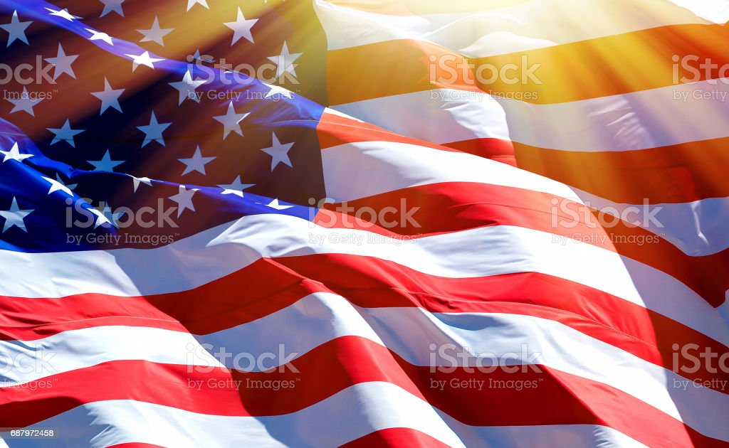 Flag of the USA Flag of the USA with bright sunflare Abstract Stock Photo