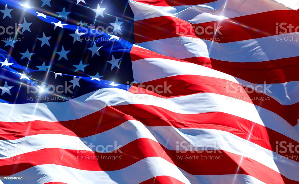 Closeup picture of the flag of the USA with sparkles