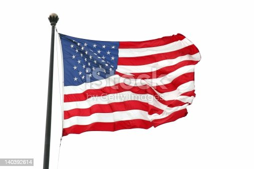 istock Flag of the USA waving against a white background 140392614