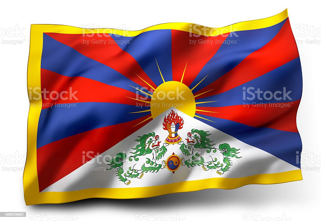 Flag of Tibet stock photo