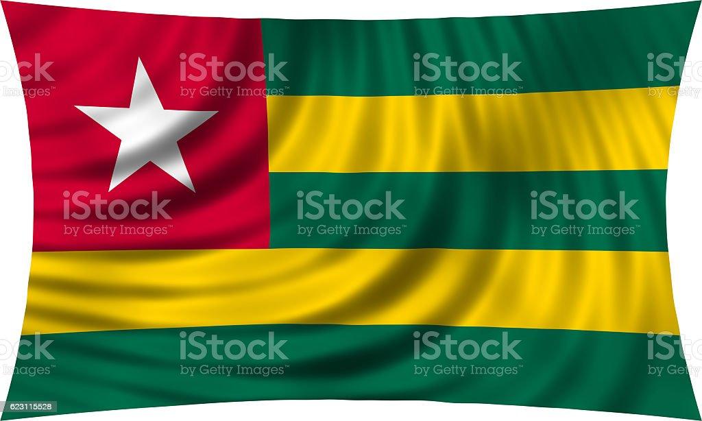 Flag of Togo waving isolated on white stock photo