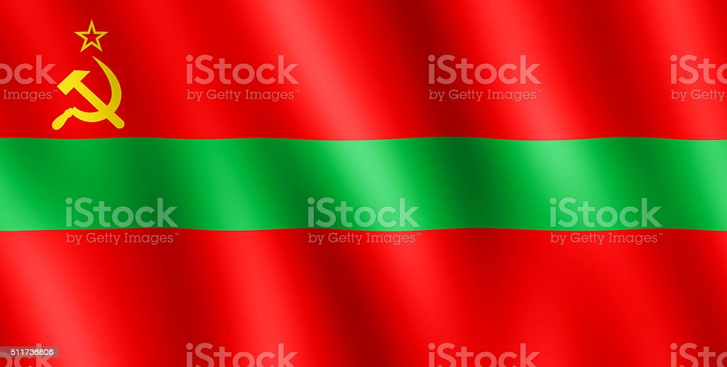 Flag of Transnistria waving in the wind stock photo