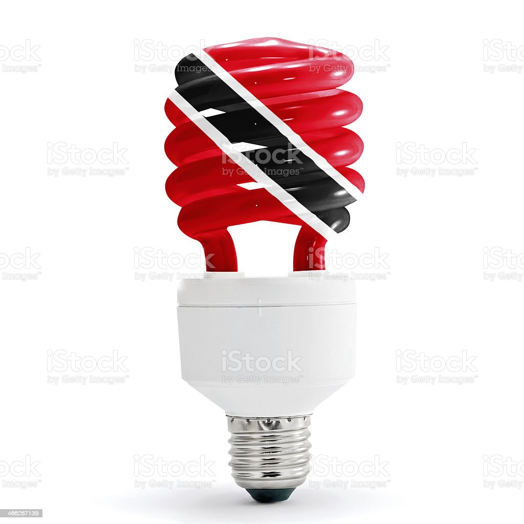 Flag Of  Trinidad On Bulb stock photo