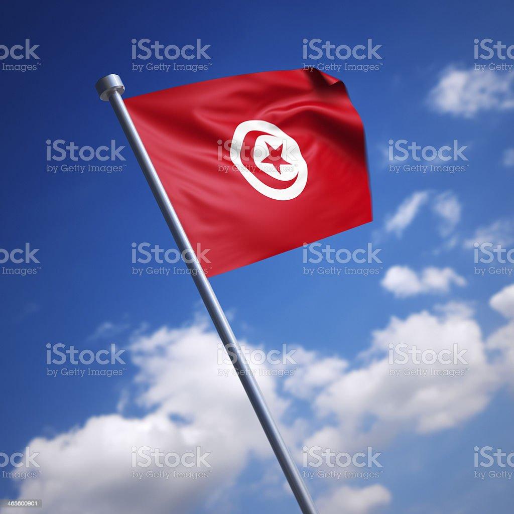 Flag of Tunisia against blue sky stock photo