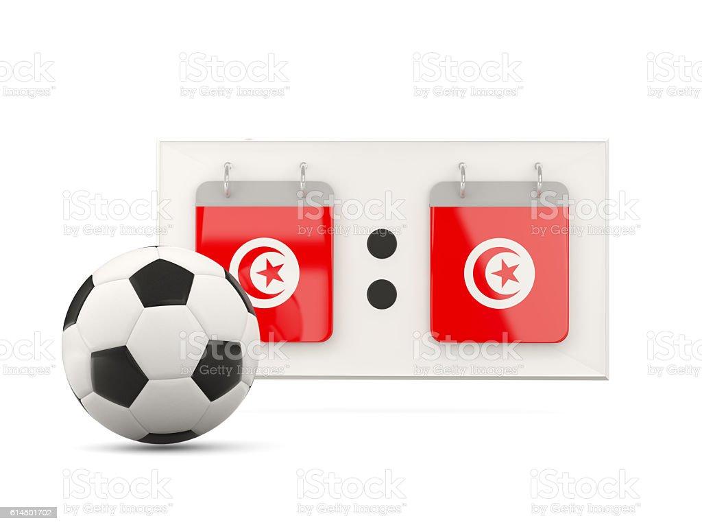 Flag of tunisia, football with scoreboard stock photo
