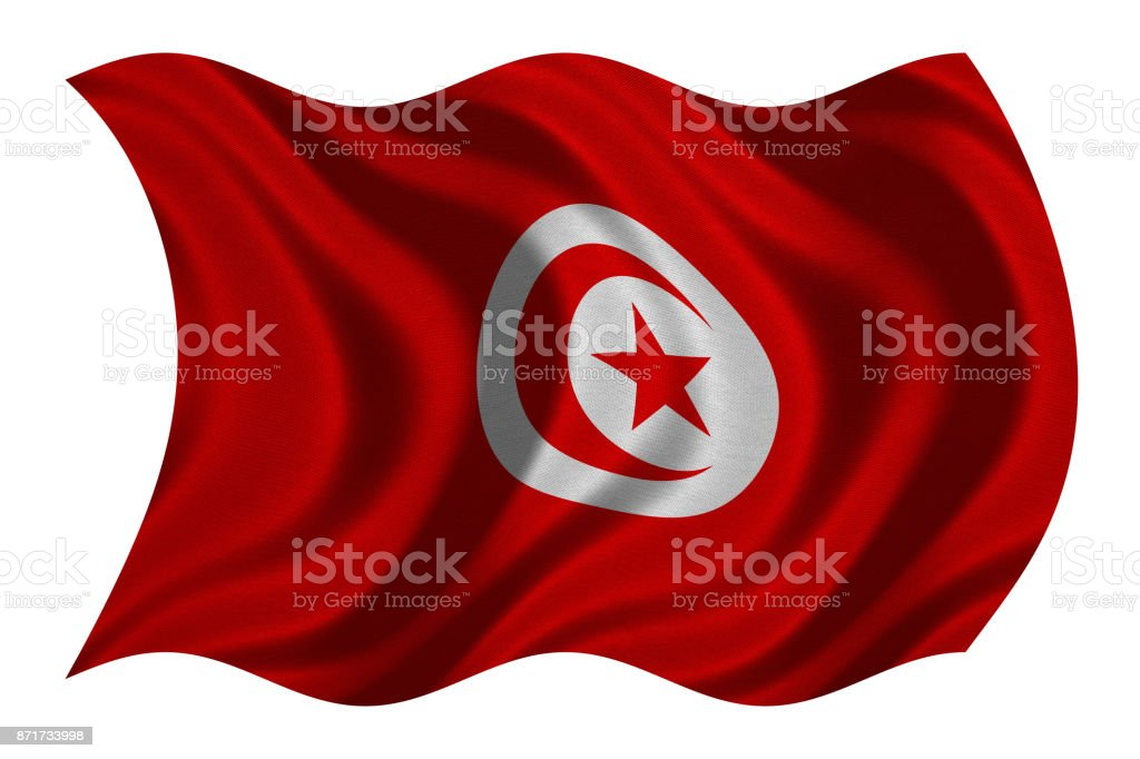 Flag of Tunisia wavy on white, fabric texture stock photo
