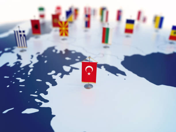 Flag of Turkey in focus among other European countries flags stock photo