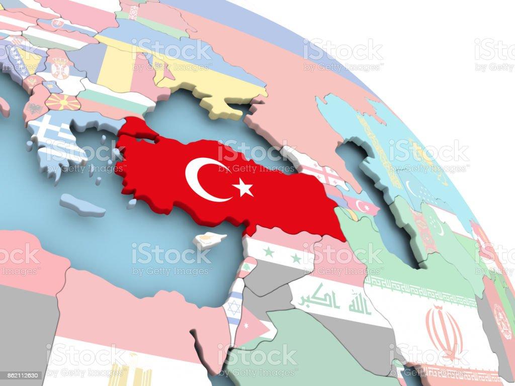 Flagge der Türkei auf Globus – Foto