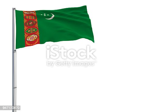 istock Flag of Turkmenistan on a flagpole fluttering in the wind on a white background, 3d rendering. 947120870