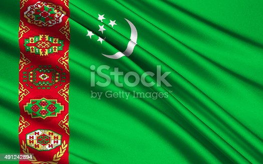 istock Flag of Turkmenistan 491242894