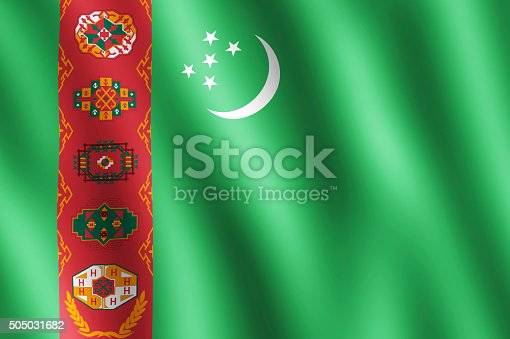 istock Flag of Turkmenistan waving in the wind 505031682
