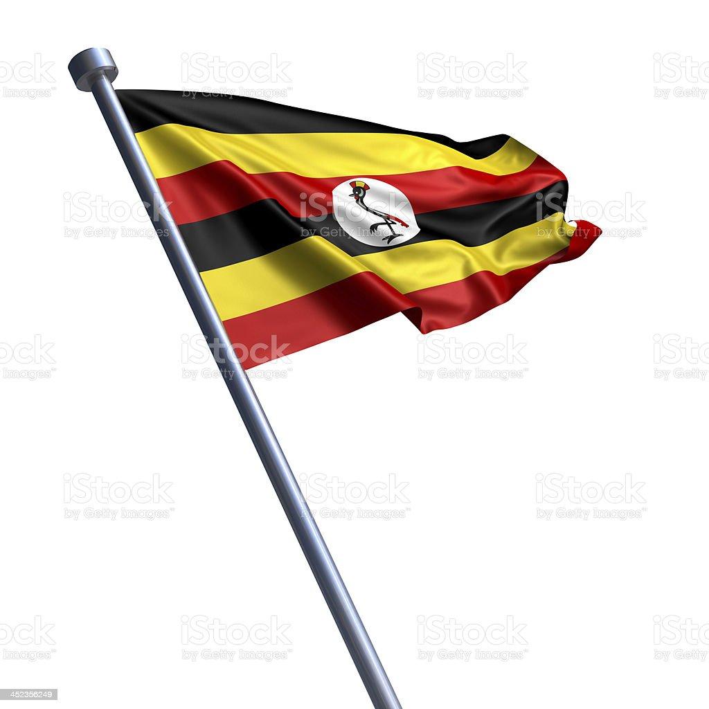 Flag of Uganda isolated on white stock photo