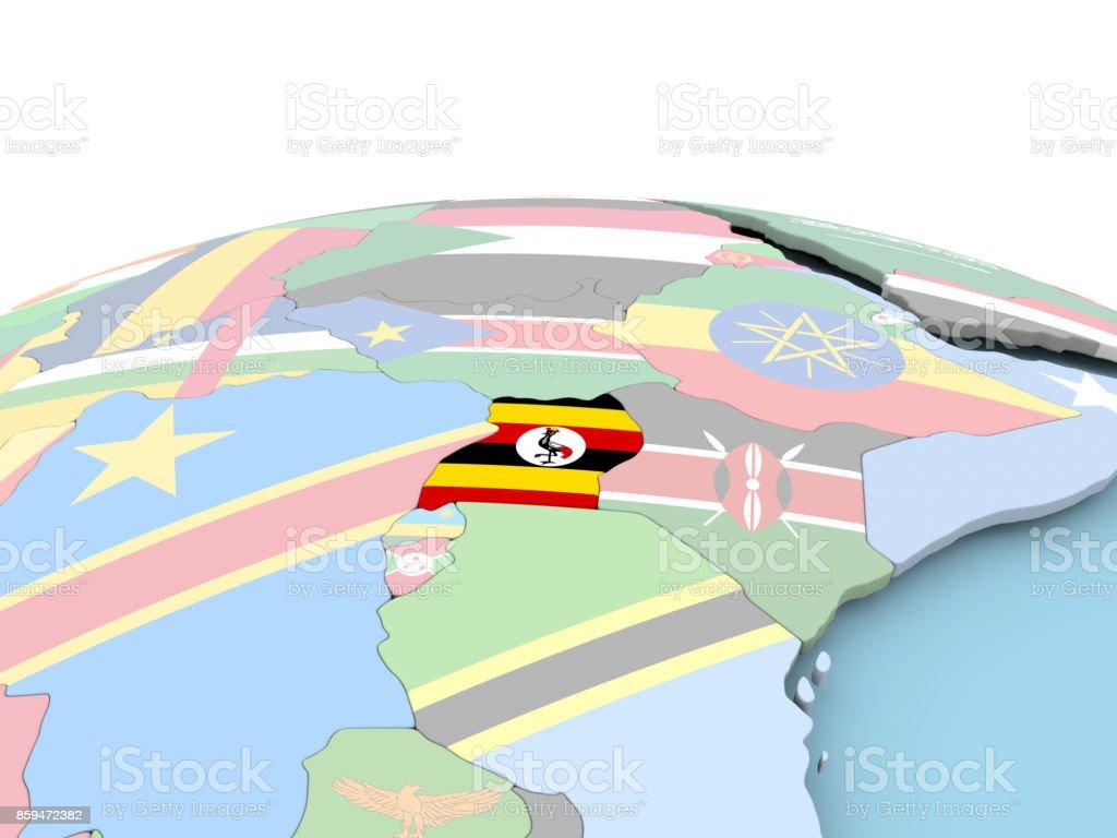 Flag of Uganda on bright globe stock photo