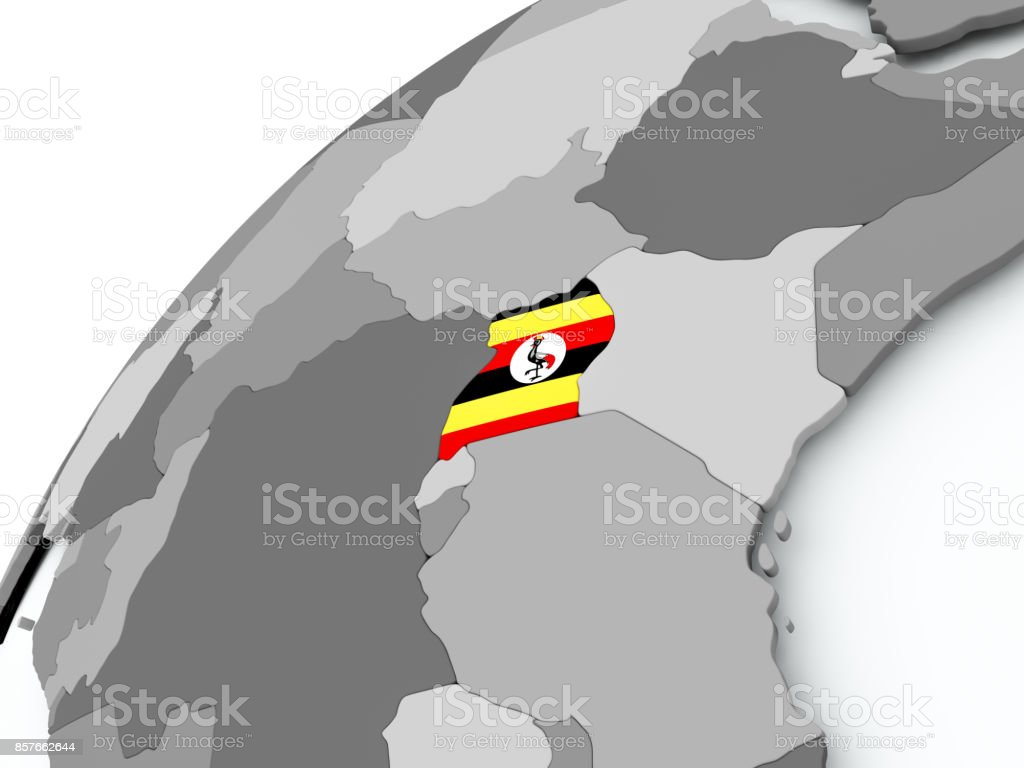 Flag of Uganda on grey globe stock photo