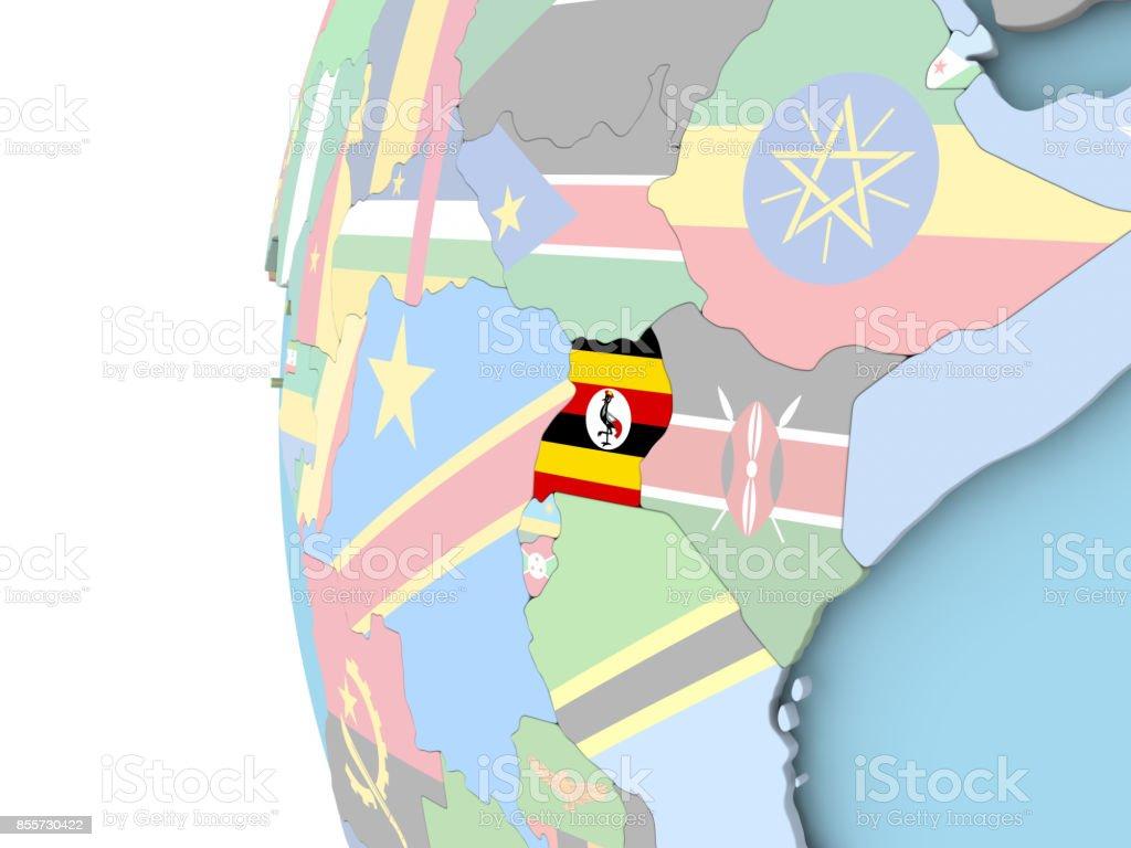 Flag of Uganda on political globe stock photo