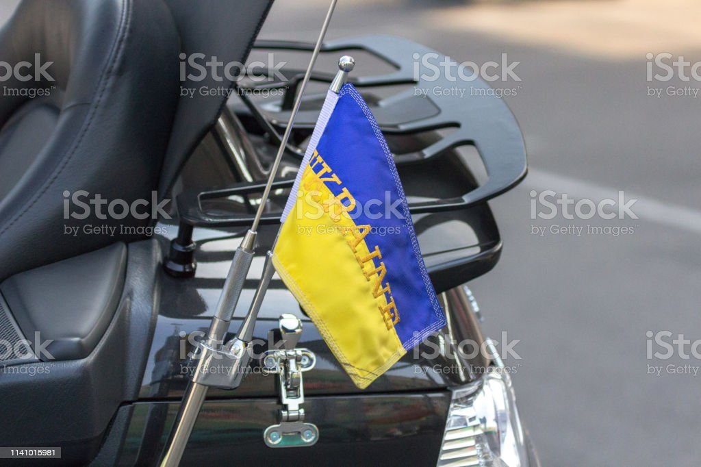 Flag of Ukraine on a motorcycle traveling biker royalty-free stock photo
