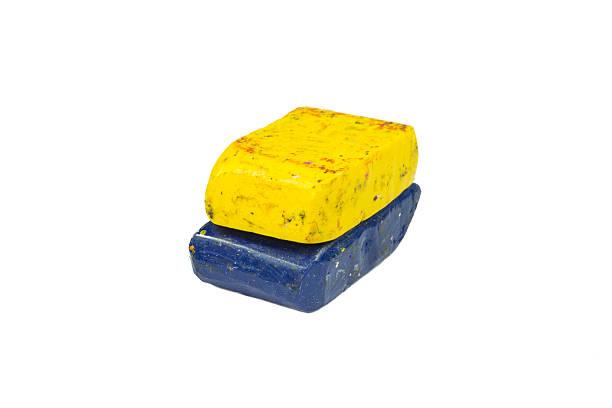 flag of ukraine with wax crayon upside down - wachsmalblöcke stock-fotos und bilder
