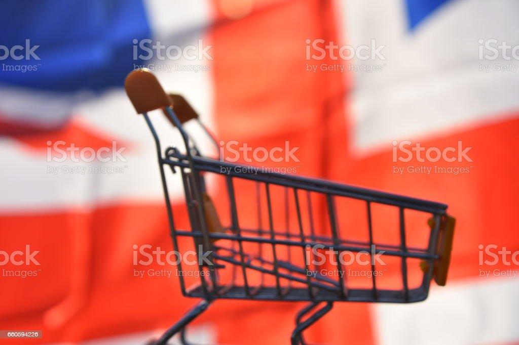 Flag of United Kingdom and  Shopping cart royalty-free stock photo