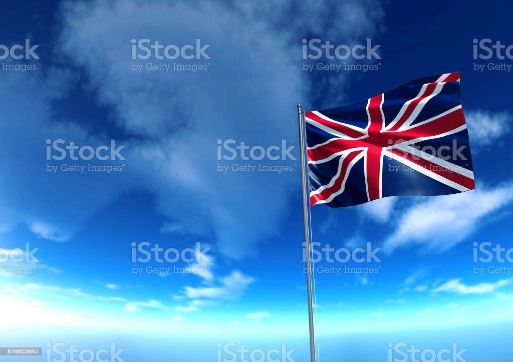 Flag of United Kingdom under blue sky stock photo