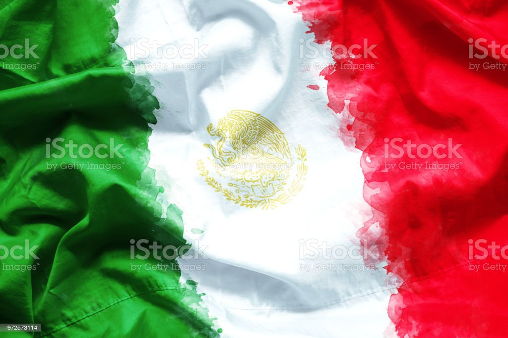 Flag of United Mexican States (Mexico) by watercolor paint brush on canvas fabric, grunge style stock photo