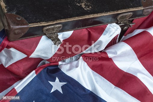 istock Flag of United State of America overlaid with grunge texture. 987029548
