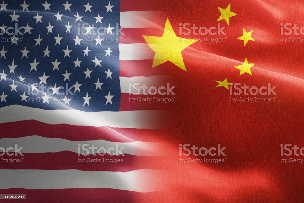 Flag of United States of America against China - indicates partnership, agreement, or trade wall and conflict between these two countries royalty-free stock photo