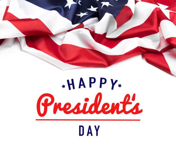 bandeira dos estados unidos em branco isolado, o dia do presidente - presidents day - fotografias e filmes do acervo