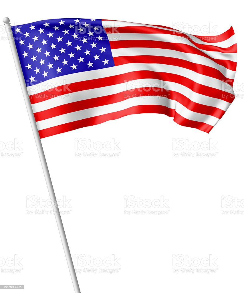 Flag of United States with flagpole stock photo
