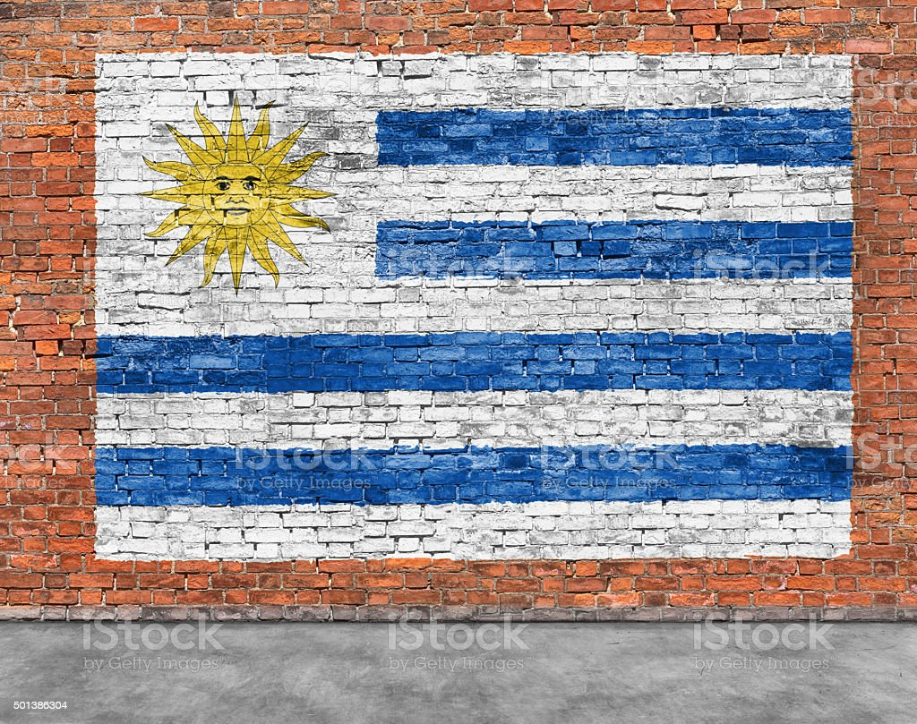 Flag of Uruguay and foreground stock photo