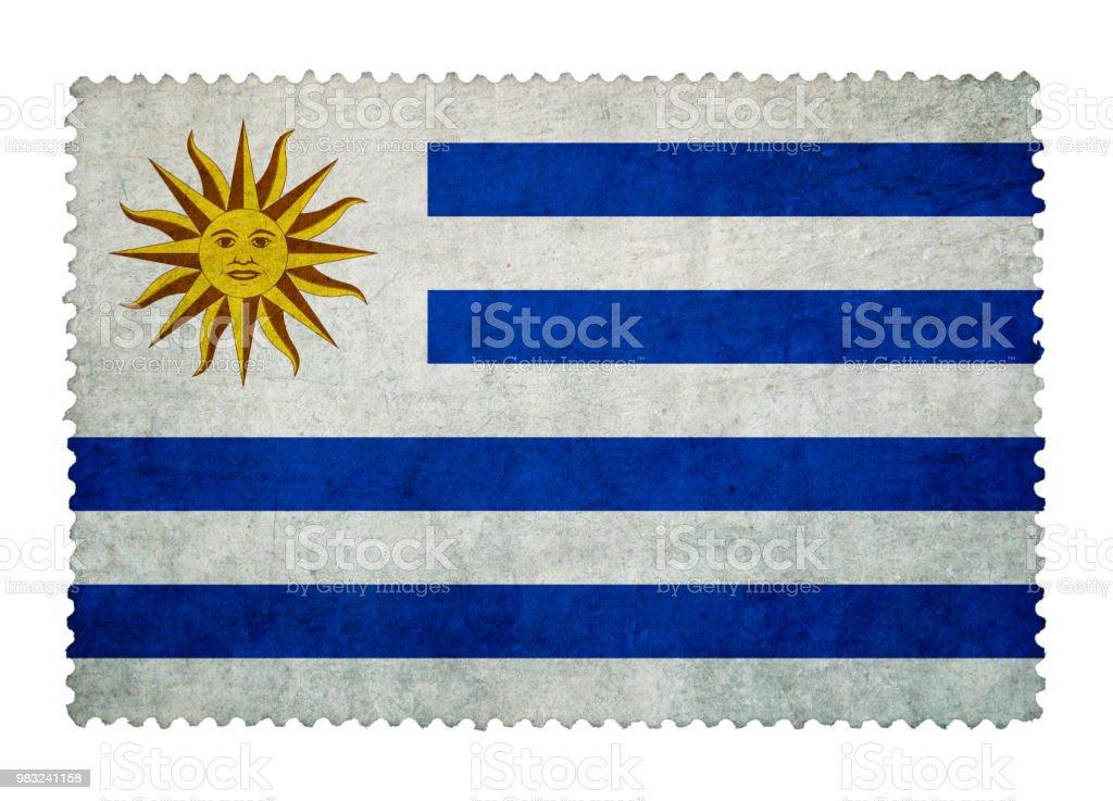 Bandera de Uruguay en grunge sello fondo aislado - foto de stock