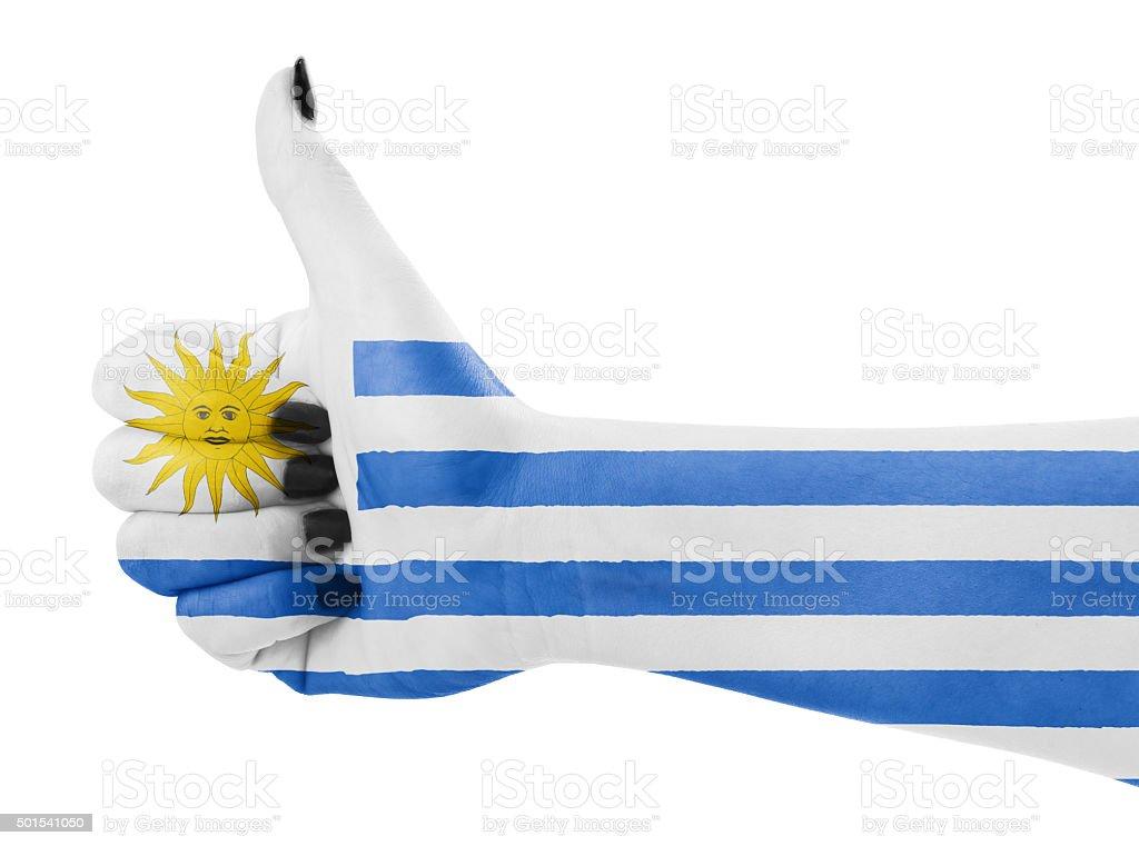 Flag of Uruguay on hand stock photo