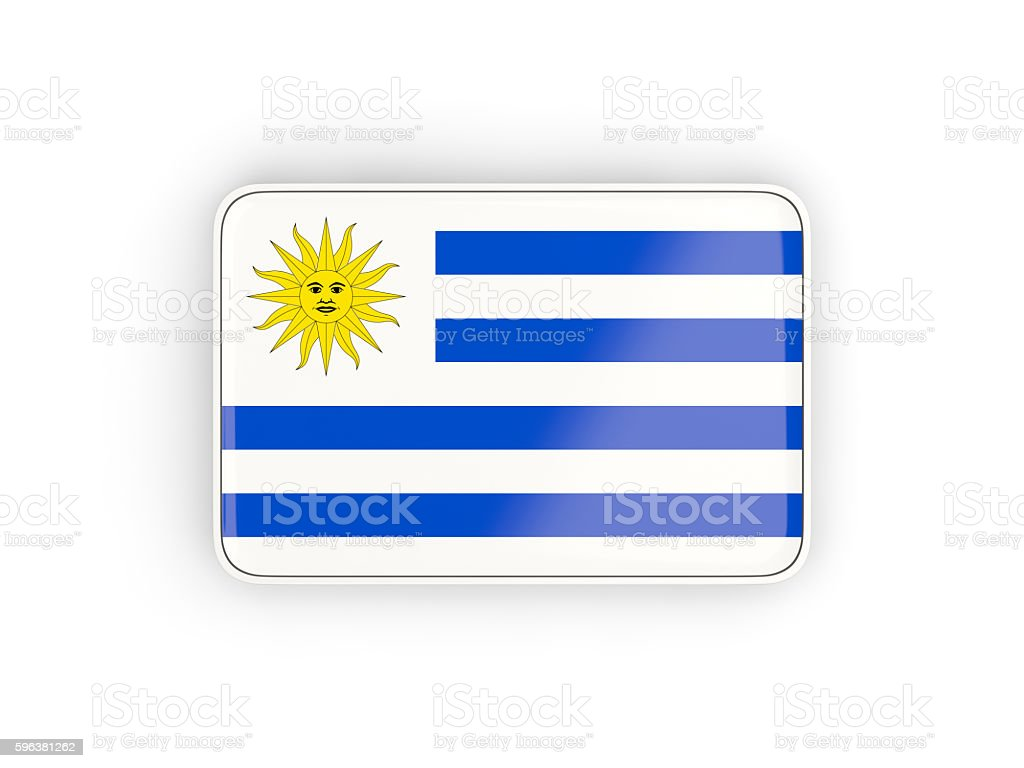 Flag of uruguay, rectangular icon - foto de acervo
