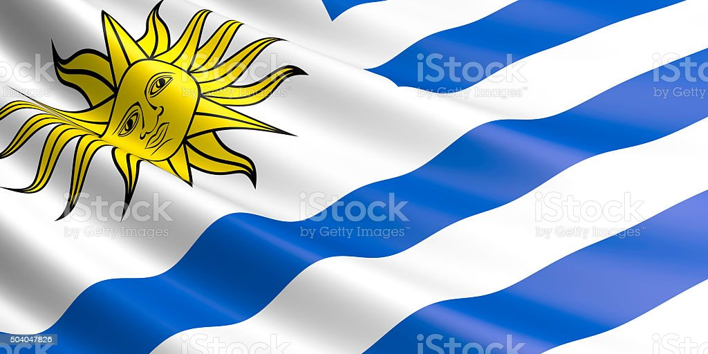 Bandera de Uruguay saludar con la mano en el viento. - foto de stock