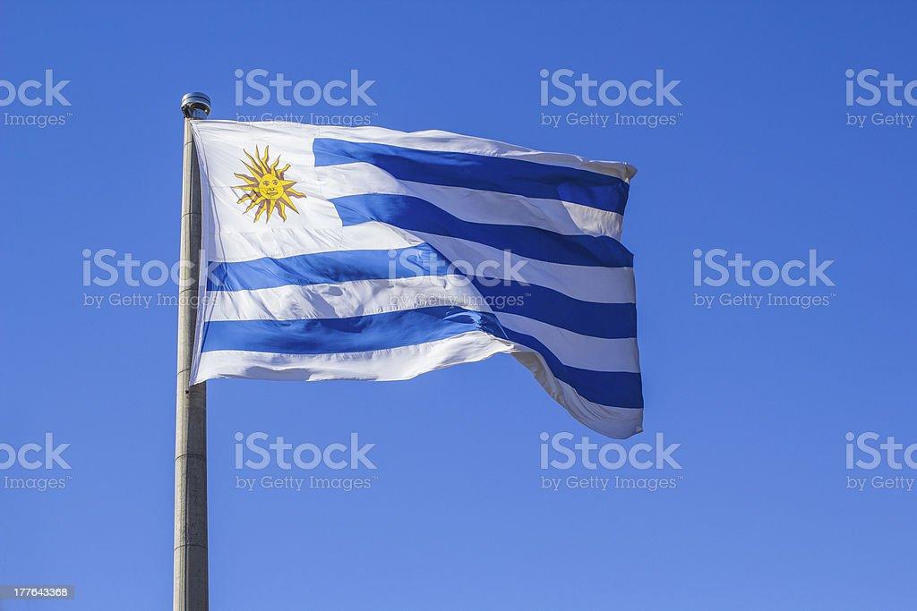 Bandera de Uruguay Saludar con la mano en el viento - foto de stock
