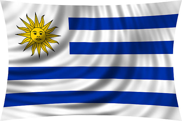 Flag of Uruguay waving isolated on white - foto de stock