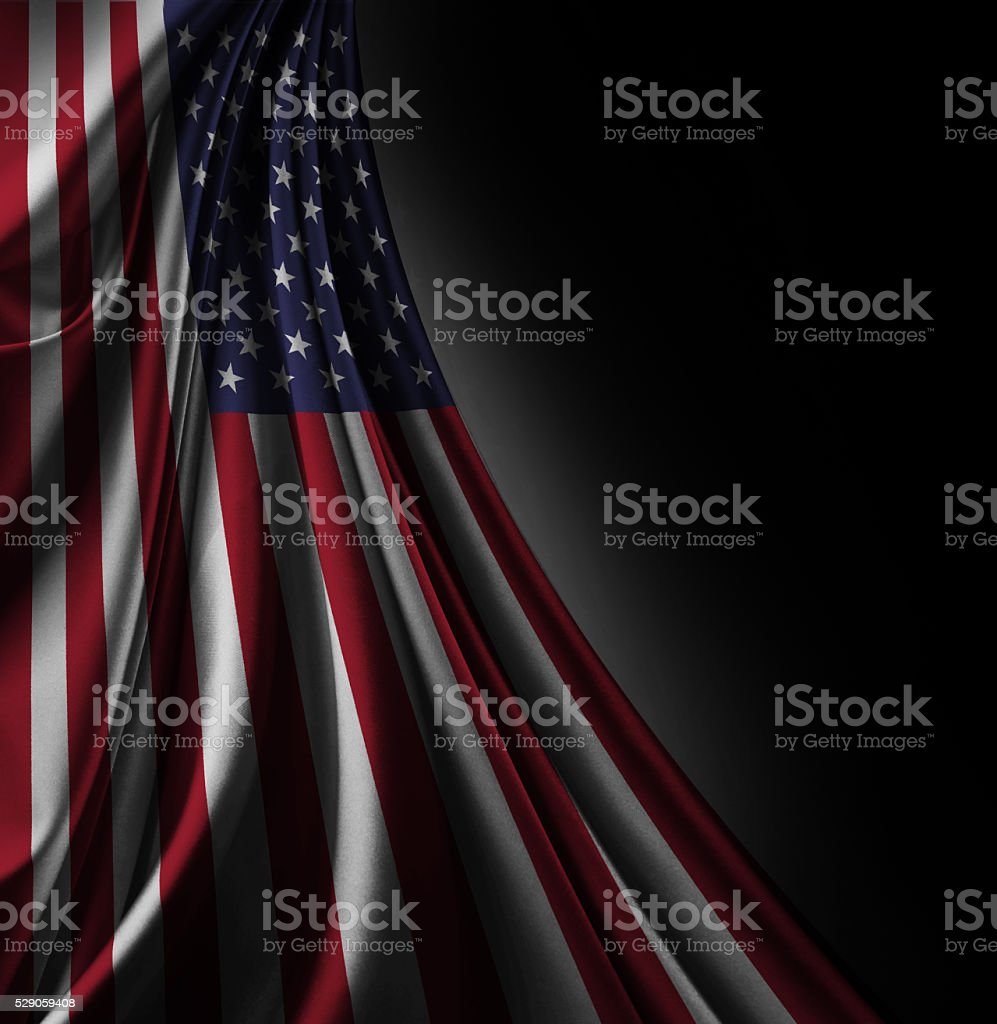 Flag of USA 3d, satin textured stock photo