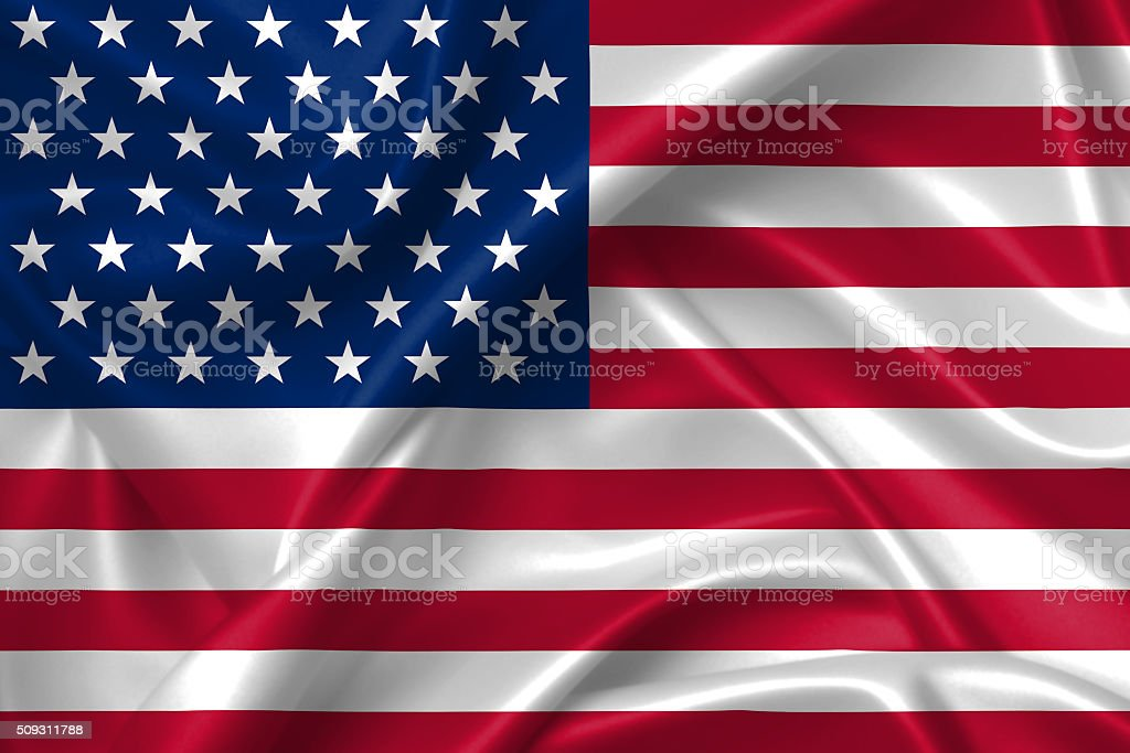 Flag of USA 3D, silk texture stock photo