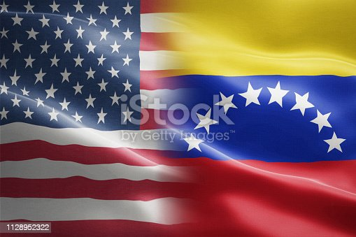 istock Flag of USA and Venezuela - indicates partnership, agreement, or trade wall and conflict between these two countries 1128952322
