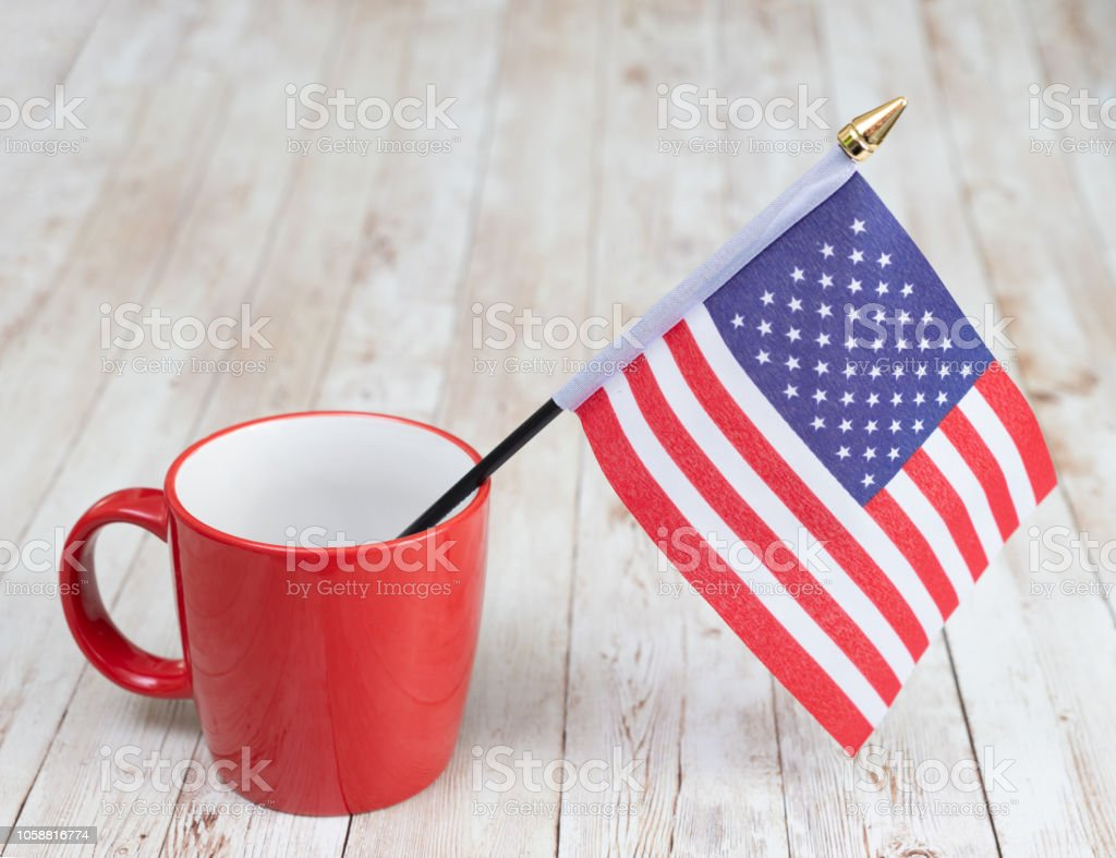Flag of USA in a mug stock photo