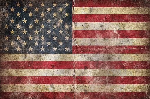 istock Flag of USA, on a vintage folded sheet of paper 622795212